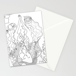Two mermaids, many pearls Stationery Cards