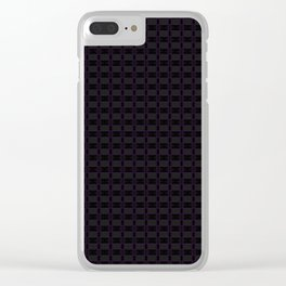 Black Gingham Pattern with Purple Accent Clear iPhone Case