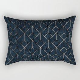 Gold Art deco on Navy ink Rectangular Pillow