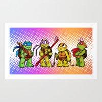 Chibi Tiny Turtles Art Print
