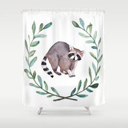 Raccoon Wreath Shower Curtain
