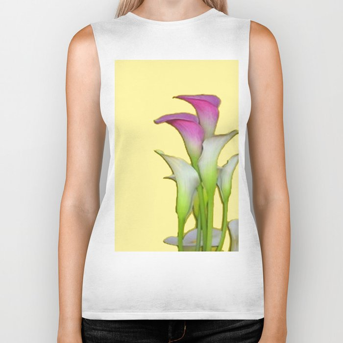 PURPLE & WHITE CALLA LILIES FLORAL YELLOW ART Biker Tank