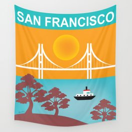 San Francisco, California - Skyline Illustration by Loose Petals Wall Tapestry