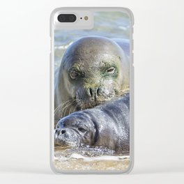 Mama Monk Seal and Pup at the Shoreline, No. 2 - RB00 and PK1 Clear iPhone Case