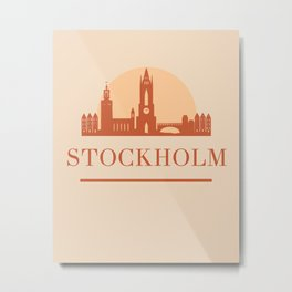 STOCKHOLM SWEDEN CITY SKYLINE EARTH TONES Metal Print