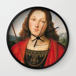 "Raffaello Sanzio da Urbino ""Saint Sebastian"", 1501-1502 Wall Clock"