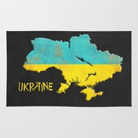 ukraine Area & Throw Rugs featuring Ukraine Vintage Map by Finlay McNevin