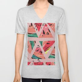 Pink Watermelon Pattern Unisex V-Neck