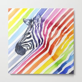Animal Zebra Rainbow Metal Print