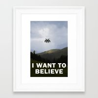 i want to believe Framed Art Prints featuring I Want To Believe by Literary Mint