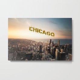 Chicago Skyline over Lake Michigan with text Metal Print