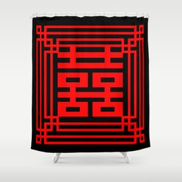 PATTERN ART06-1-Red Shower Curtain