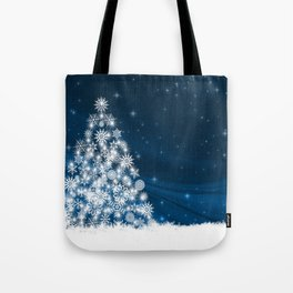 Blue Christmas Eve Snowflakes Winter Holiday Tote Bag