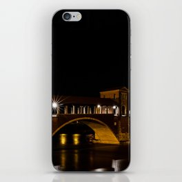 Night photography of the Ponte Coperto of Pavia, historical building also called Ponte Vecchio built iPhone Skin