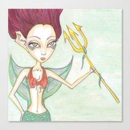 Tritans Mermaid Daughter Canvas Print