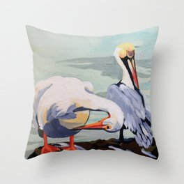 Preening Pelicans Throw Pillow