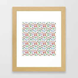 Funny insects falling in love posing for a pattern design Framed Art Print