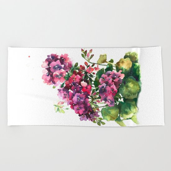 Watercolor geranium red pink flowers Beach Towel