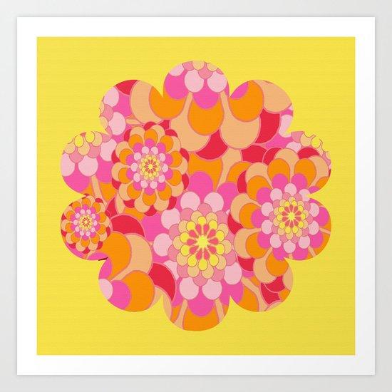 Summer Essence Bright Hippy Flowers On Yellow Art Print
