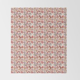 Hand drawn confectionery croissant Cupcake candy ice cream cake donut and coffee Throw Blanket