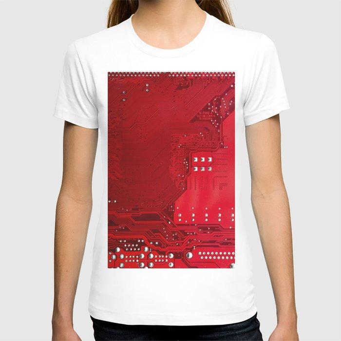 red electronic circuit board T-shirt