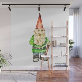 Gnome Spring Watercolor Illustration Wall Mural