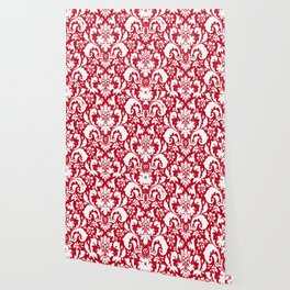 Paisley Damask Red and White Pattern Wallpaper
