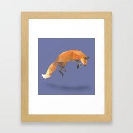 Low Poly Flying Red Fox Framed Art Print