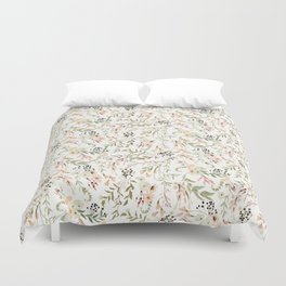 Dainty Intricate Pastel Floral Pattern Duvet Cover