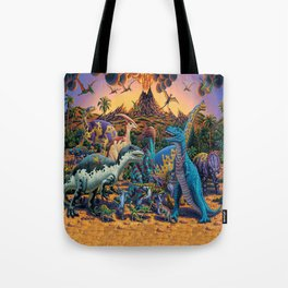 Dinosaurs flee the volcano Tote Bag