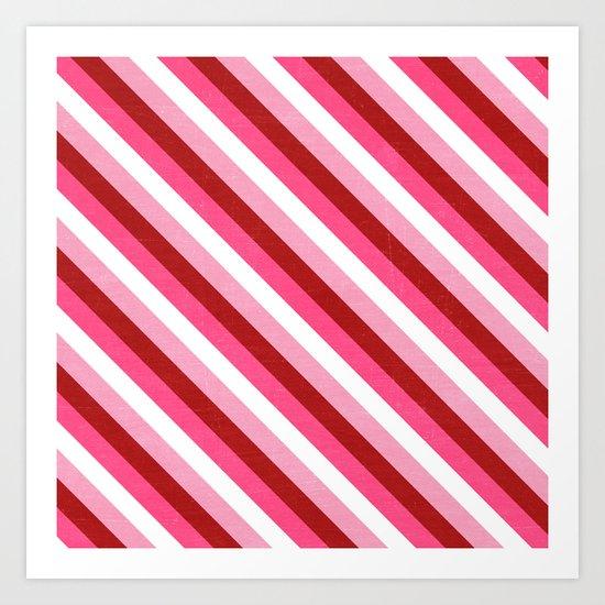 valentine diagonal stripes Art Print