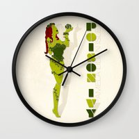poison ivy Wall Clocks featuring Poison Ivy by Lily's Factory