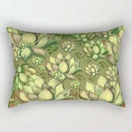 """Green Sun Succulents pattern"" Rectangular Pillow"