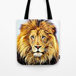 Lion head digital art Tote Bag