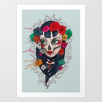 mexican Art Prints featuring Mexican SK by LucreziaU's Illustration