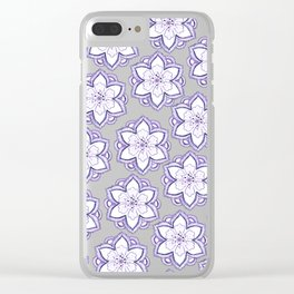 Hand drawn lavender white watercolor floral mandala pattern Clear iPhone Case
