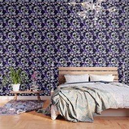 White Flowers on Purple Background Wallpaper