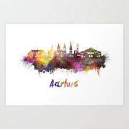 Aarhus skyline in watercolor Art Print