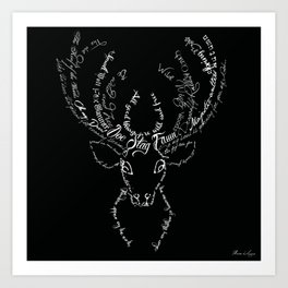 Black Stag Typographic Art Print