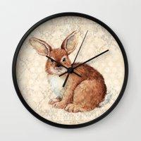 rabbit Wall Clocks featuring Rabbit by Patrizia Ambrosini