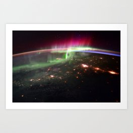 Space Station Northern Lights over Pacific Northwest - North America Photograph Art Print