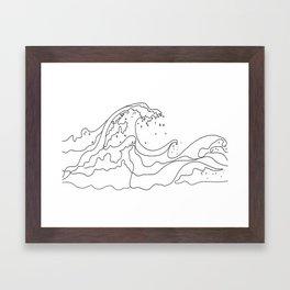 Minimal Line Art Ocean Waves Framed Art Print