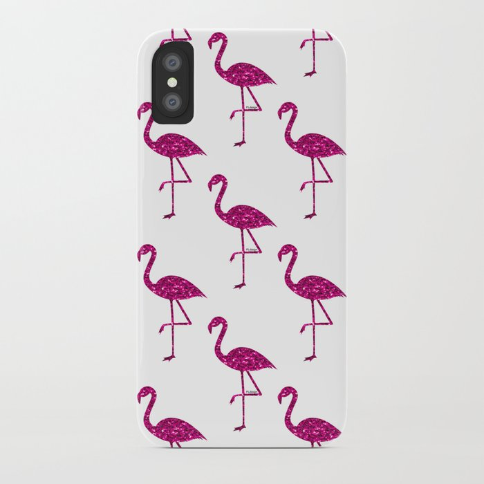 Sparkly flamingo Pink glitter sparkles pattern iPhone Case