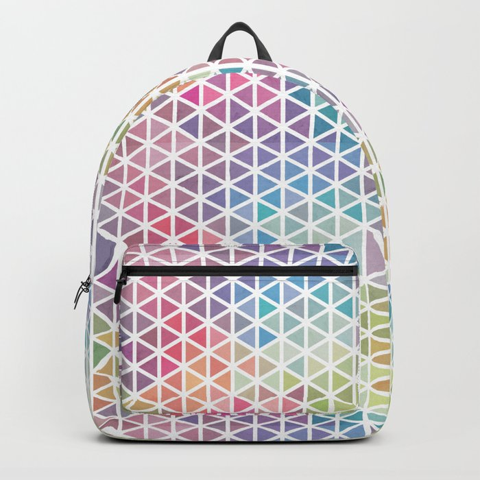 Geometric Fractal Triangles Bubblegum Rain Backpack
