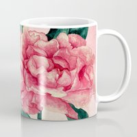 peonies Mugs featuring Peonies by Lynette Sherrard Illustration and Design