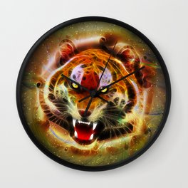 Cosmic Fire Tiger Roar Wall Clock
