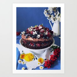 Chocolate Berry Cake Art Print