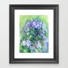 Hydrangea, Sky Blue Flowers, Royal Blue Wall art Framed Art Print