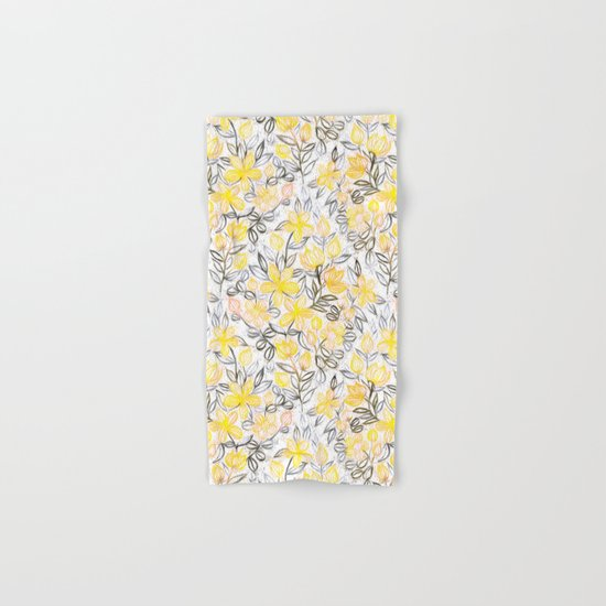 Sunny Yellow Crayon Striped Summer Floral Hand & Bath Towel