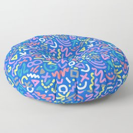 Bright Hand-Drawn 90s Pattern Floor Pillow